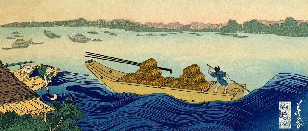 米俵を船で運ぶ
